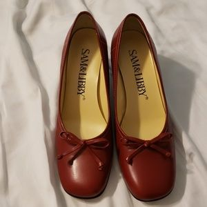 Red chunky heels, size 8 Sam&Libby